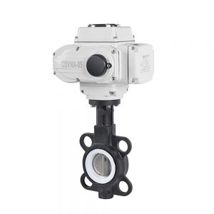 HK60-D PTFE Wafer Type Butterfly Valve with Electric Actuator
