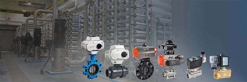 motorized valve and pneumatic actuator valve