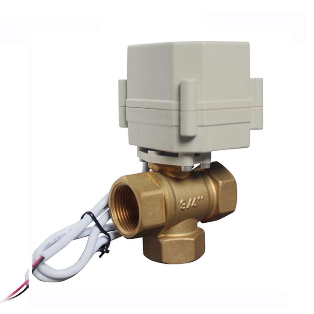 "COVNA HK63-H-T 3/4"" Spring Return 3 Way Brass Motorized Ball Valve"