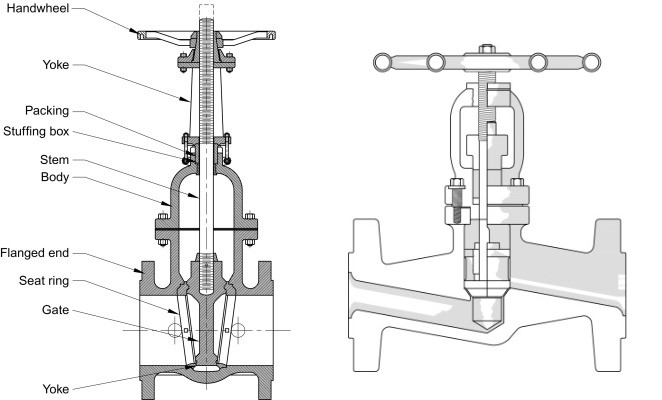 Diagram of gate valve and globe valve